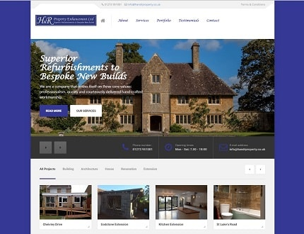 Website for H&R Property Enhancement Ltd, based in Sussex