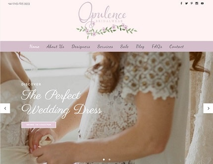 Website for Opulence Bridalwear, based near Liverpool