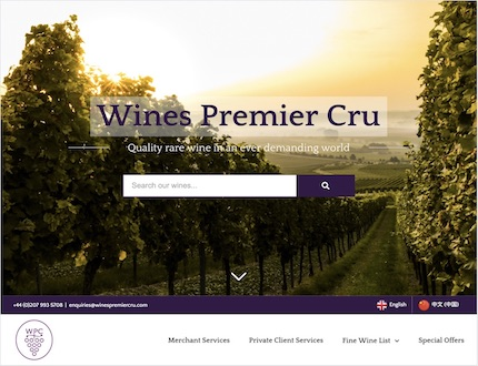 Fine Wine Merchants website created by James Browning | Freelance Web Developer in Brighton